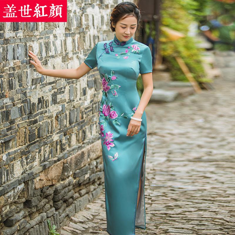盖世红颜真丝旗袍秋冬新款手工刺绣改良长款旗袍裙中式晚礼服