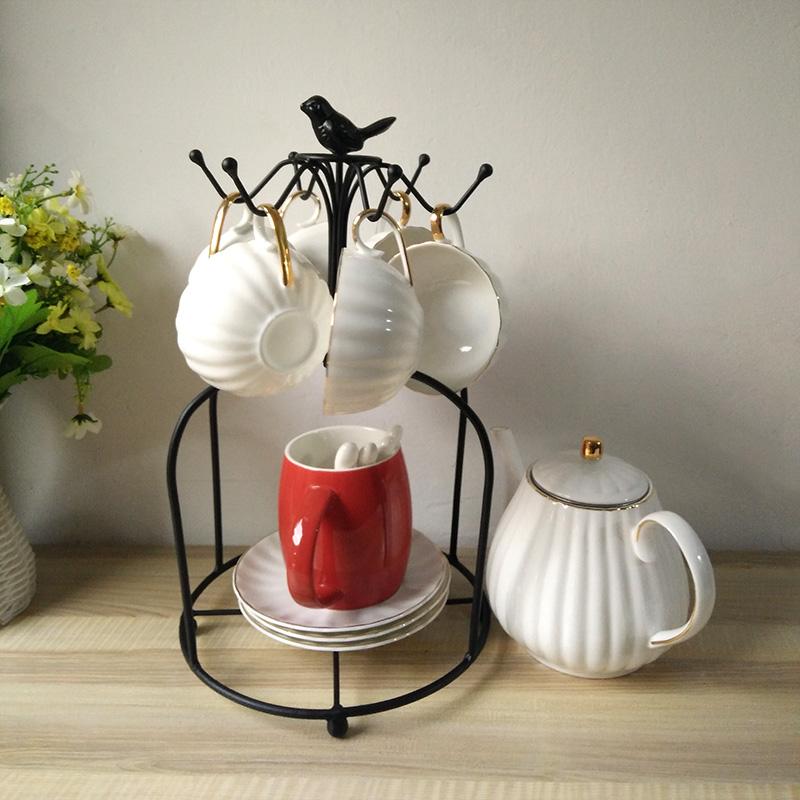 欧式家用创意置物架咖啡杯架放杯子的收纳架马克杯水杯挂架晾杯架