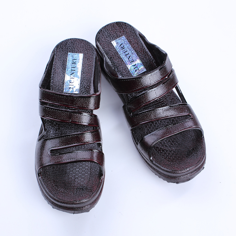 女漆皮細帶中跟21CENTURY臺灣拖鞋中年媽媽阿婆厚底夏季一字涼拖