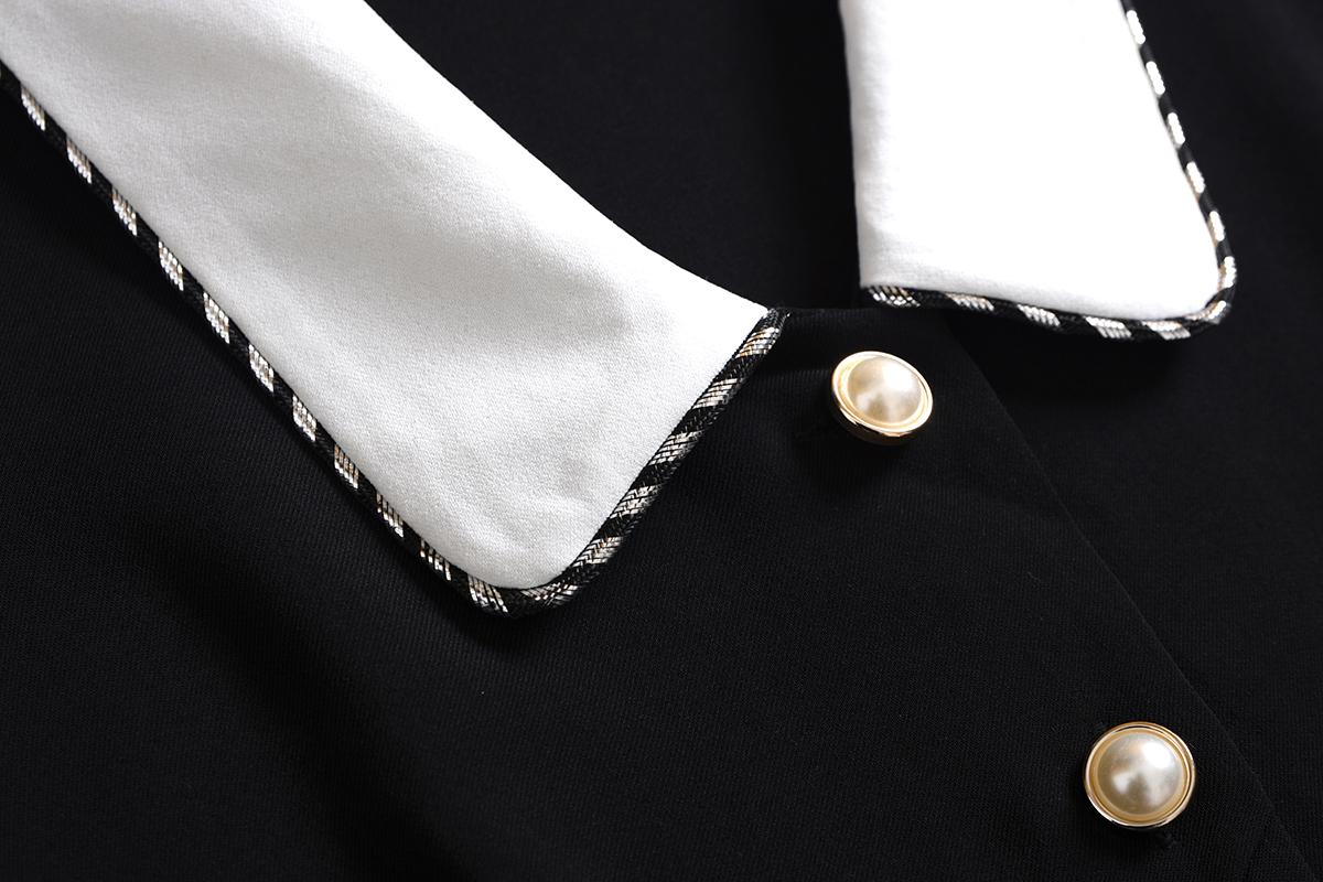 法式复古翻领连衣裙2020春赫本风高腰中长款显瘦收腰连身裙