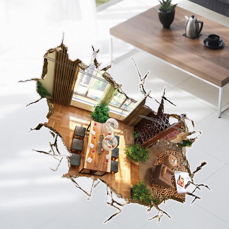 立体感可移除墙贴荷塘贴画卫生间浴室地贴客厅卧室防水耐磨贴纸 3D