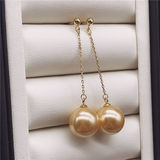 925 sterling silver natural freshwater gold pearl powder earrings earrings long pearl earrings Korean fashion for mom