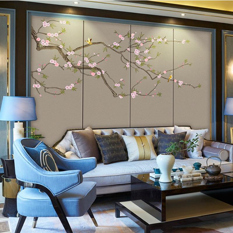 新中式电视背景墙纸壁纸沙发卧室大型壁画简约荷花墙布禅意墙纸