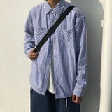 KTDA 19F / W Japanese blue striped autumn and winter new casual long-sleeved men and women couple loose striped shirt