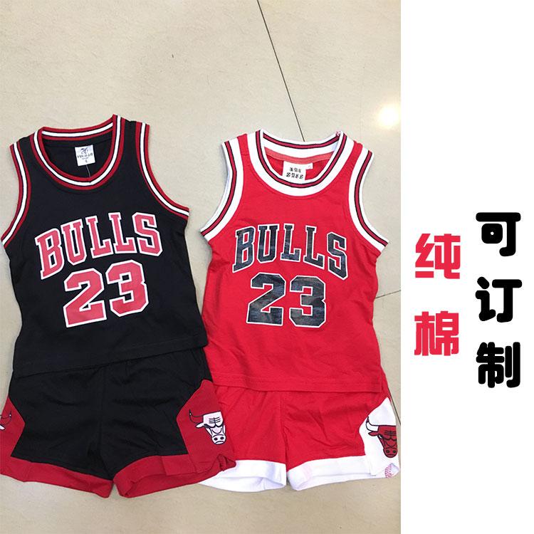 23號球衣 兒童球衣 籃球服親子裝純棉 紅色黑色小孩背心運動套裝
