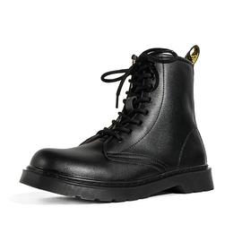 马丁靴男春秋季百搭高帮鞋潮流机车网红男靴黑色英伦风增高皮靴子