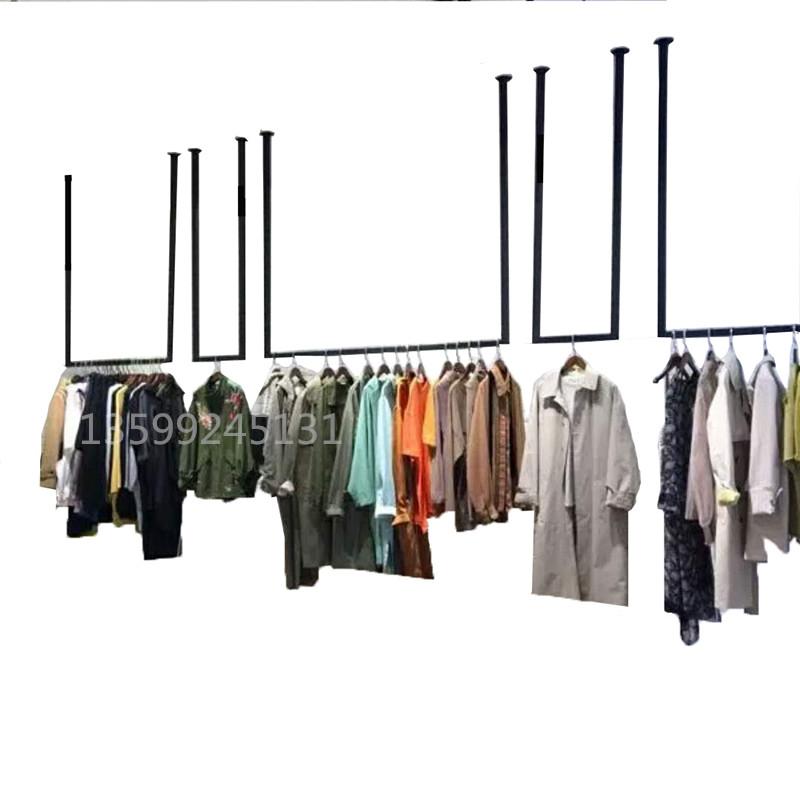 服装店吊顶悬挂衣架定做吊架上墙服装展示架男童装吊环女装店货架