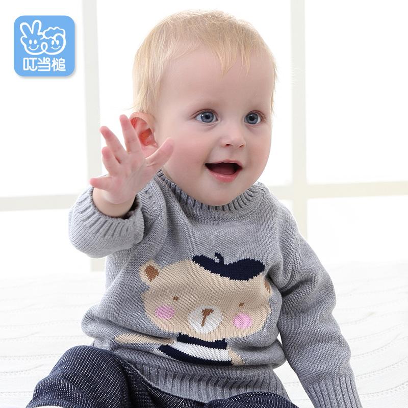 叮当槌宝宝毛衣秋装男女童套头针织衫儿童打底衫保暖圆领卡通小熊
