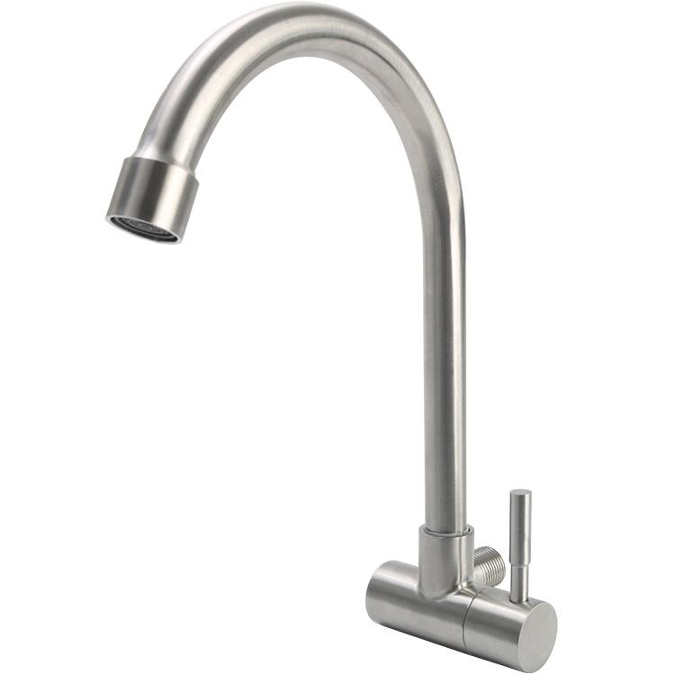 插墻式旋轉水龍頭 橫式 分入墻式 4 不銹鋼單冷龍頭 SUS304 廚房水槽