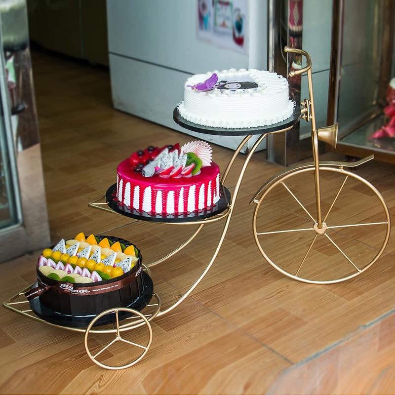 新款欧式创意铁艺蛋糕架自行车婚庆三层糕点架花架生日多层甜品架