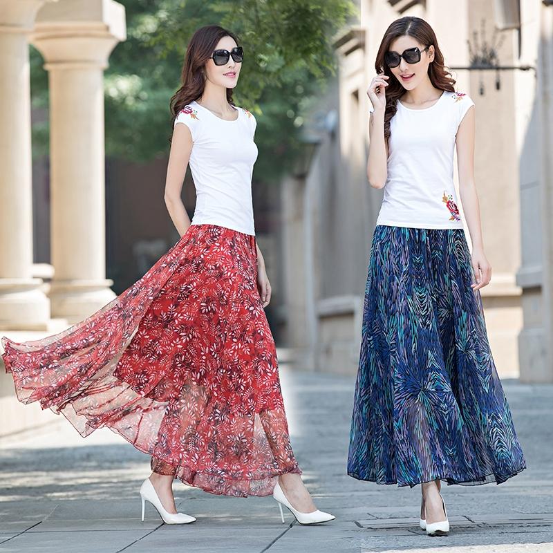 裙衣彩夏季雪纺半身裙中长款复古印花大摆仙女裙大码沙滩长裙女