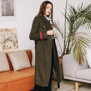 2017秋冬新款韩版军绿色中长款过膝羊毛呢子单排扣大衣工装外套女
