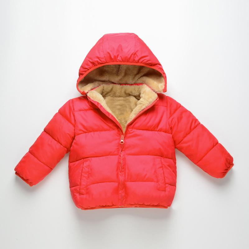 反季儿童棉衣男童羽绒棉服加绒女宝宝羊羔绒棉袄小童加厚外套童装