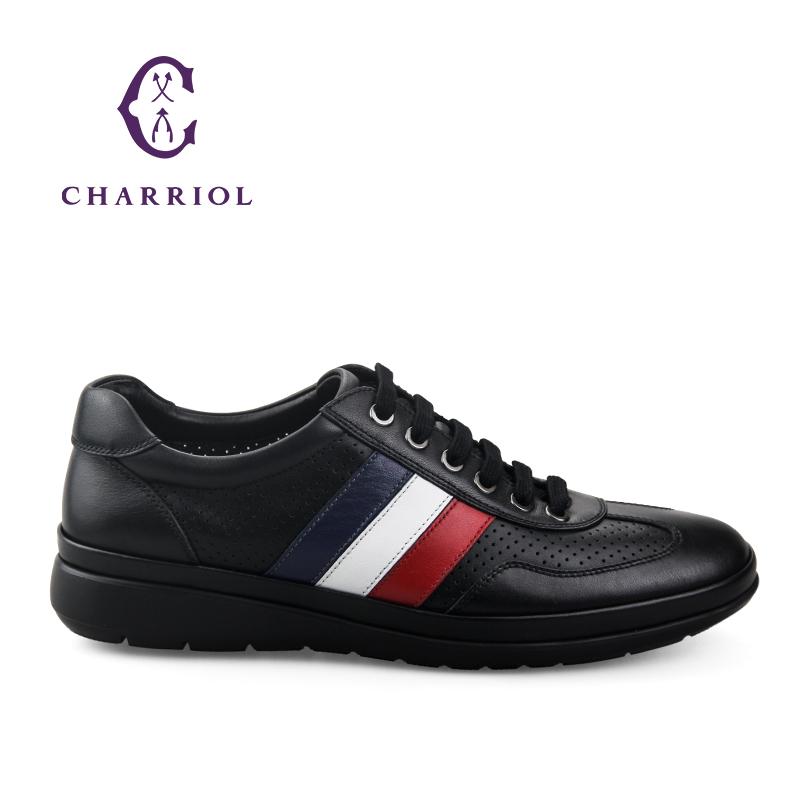 CHARRIOL夏利豪男士皮鞋时尚英伦商务休闲男鞋低帮透气系带板鞋男优惠券