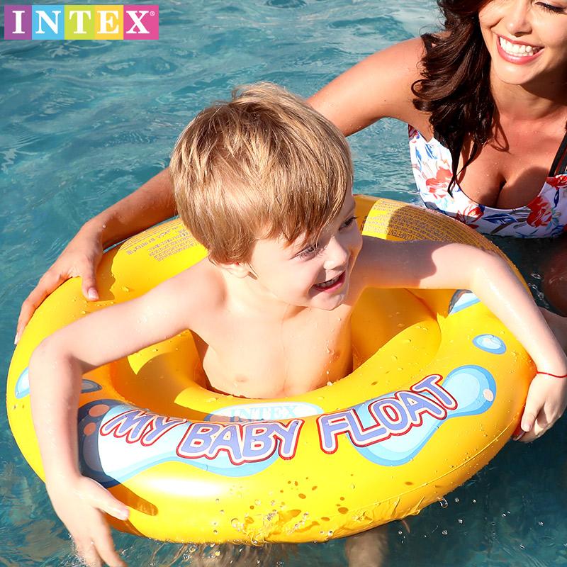 加厚INTEX儿童新生婴儿游泳圈座圈宝宝坐圈小孩遮阳卡通腋下浮圈