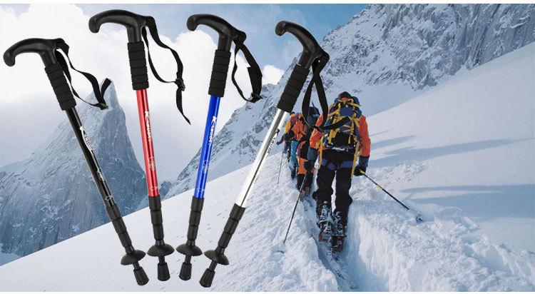 登山杖户外超轻碳素折叠手仗拐杖铝合金伸缩减震直弯柄老人徒步棍高清大图