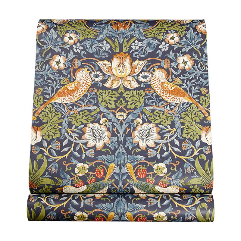 欧式复古 英伦莫里斯墙纸 客厅卧室电视背景墙花鸟纯纸壁纸