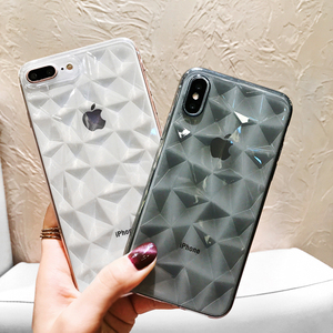 超薄菱格几何苹果X情侣手机壳iPhone8plus透明菱形软壳7plus男女6