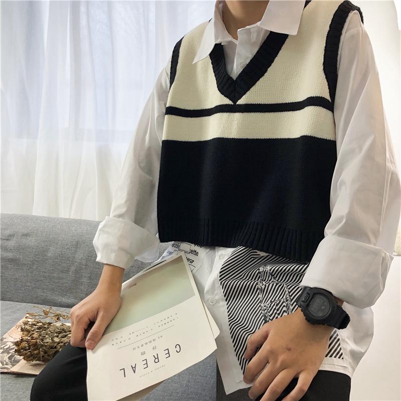 韩国bf学院风V领宽松拼色套头短款无袖女chic马甲针织背心男士潮