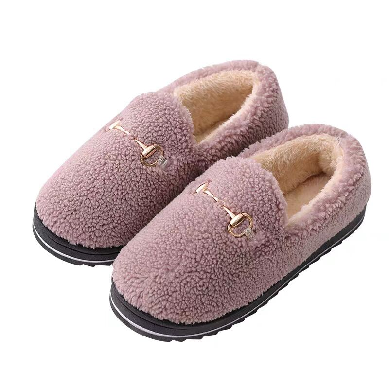 秋冬新款优质绒毛毛鞋居家棉拖鞋防滑月子加绒包跟豆豆鞋女 2019