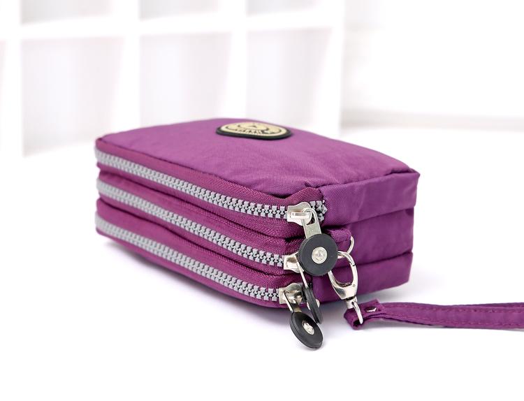三层拉链零钱包女 手包手抓包手拿包斜挎手机包布艺小钱包包夏天