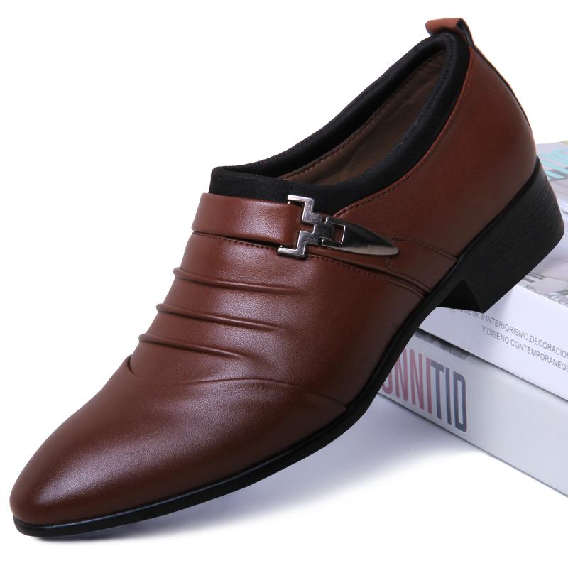 新款皮鞋男士韩版尖头透气鞋商务正装休闲白色潮鞋子 2018 男鞋夏季
