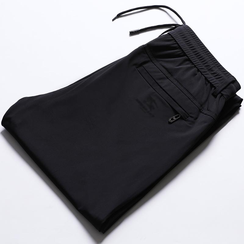宽松版丝滑弹力系带松紧腰休闲裤抽绳运动裤中年商务直筒男裤夏薄
