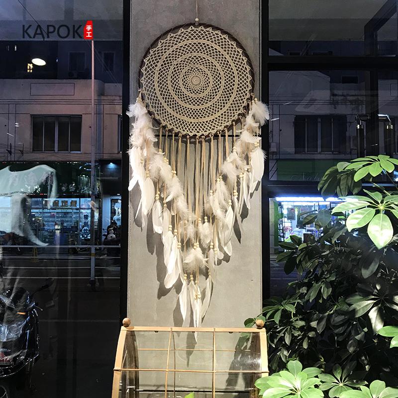 印第安捕梦网 挂饰大号婚礼婚庆白羽毛挂件 扑梦网风铃创意壁挂