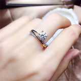 Genuine D color ultra white 1 carat mosan diamond ring female S925 sterling silver mosan stone wedding imitation diamond ring can be lettering
