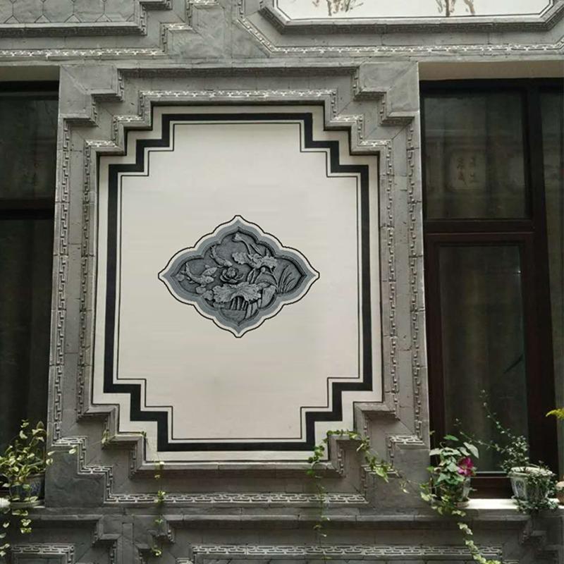 唐古砖雕中式仿古建庭院浮雕照壁影壁围墙装饰挂件年年有余80*60