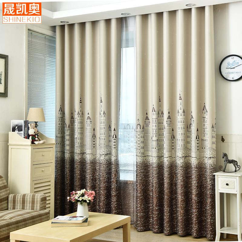 地中海城堡儿童房卧室客厅阳台隔热全遮光布艺阳台定制窗帘成品纱
