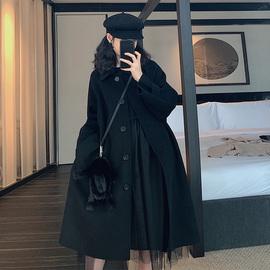 2020春季韩版流行赫本风呢子大衣小个子黑色毛呢外套女中长款加厚