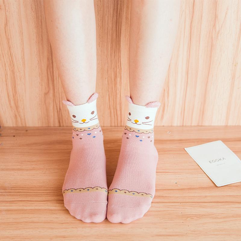 袜子女中筒袜韩国学院风纯棉长袜秋冬百搭韩版卡通可爱学生袜潮