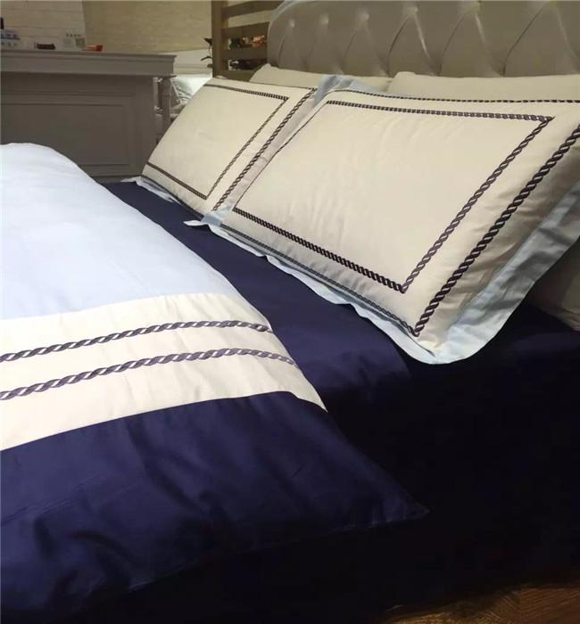 简约纯棉四件套酒店床上用品60支埃及长绒棉纯色刺绣被套大气床品【图5】