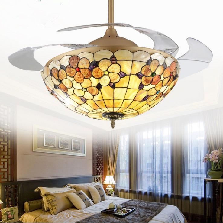 蒂凡尼貝殼吊扇燈 隱形風扇燈餐廳臥室客廳風扇吊燈帶LED的電扇燈