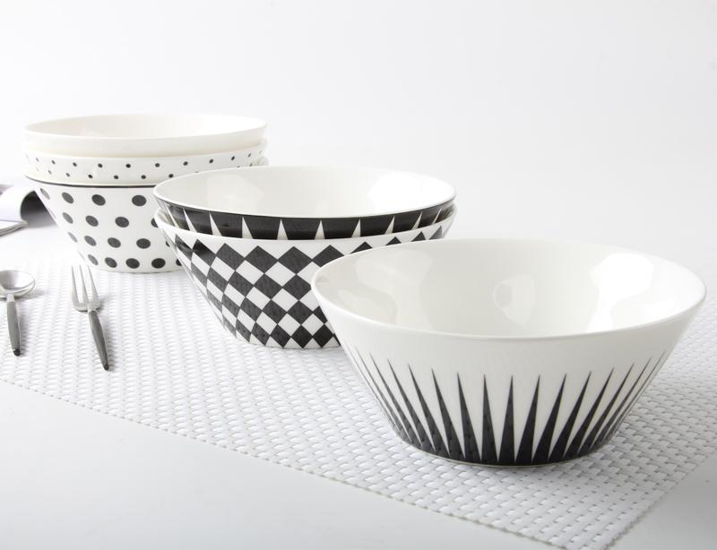 創意簡約 黑色幾何6寸高骨瓷湯碗沙拉碗泡麵碗穀物碗餐具套裝送禮