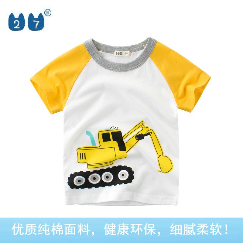 2021夏款童装ins儿童短袖T恤纯棉男童圆领半袖 孩子的衣服挖土机