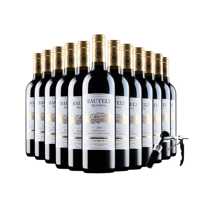 12 支 买一箱送一箱法国原瓶原装进口红酒波尔多干红葡萄酒正品整箱