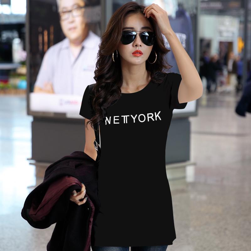 纯棉字母t恤女短袖中长款 2019半袖韩版百搭宽松全棉女士粉色丅恤