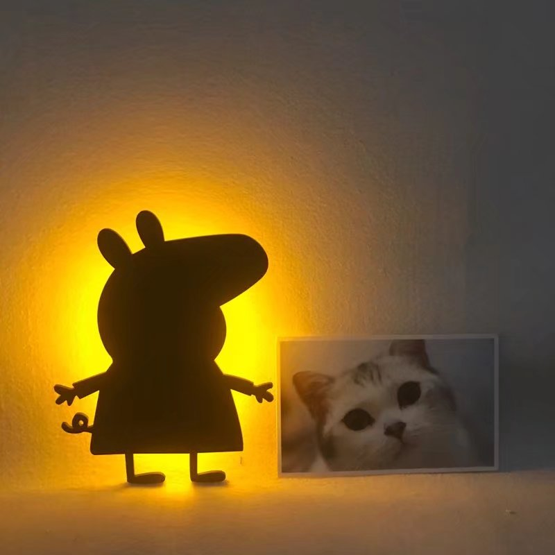 起夜喂奶灯 动物造型墙壁装饰小夜灯 小猪佩奇剪影感应灯 LED 创意