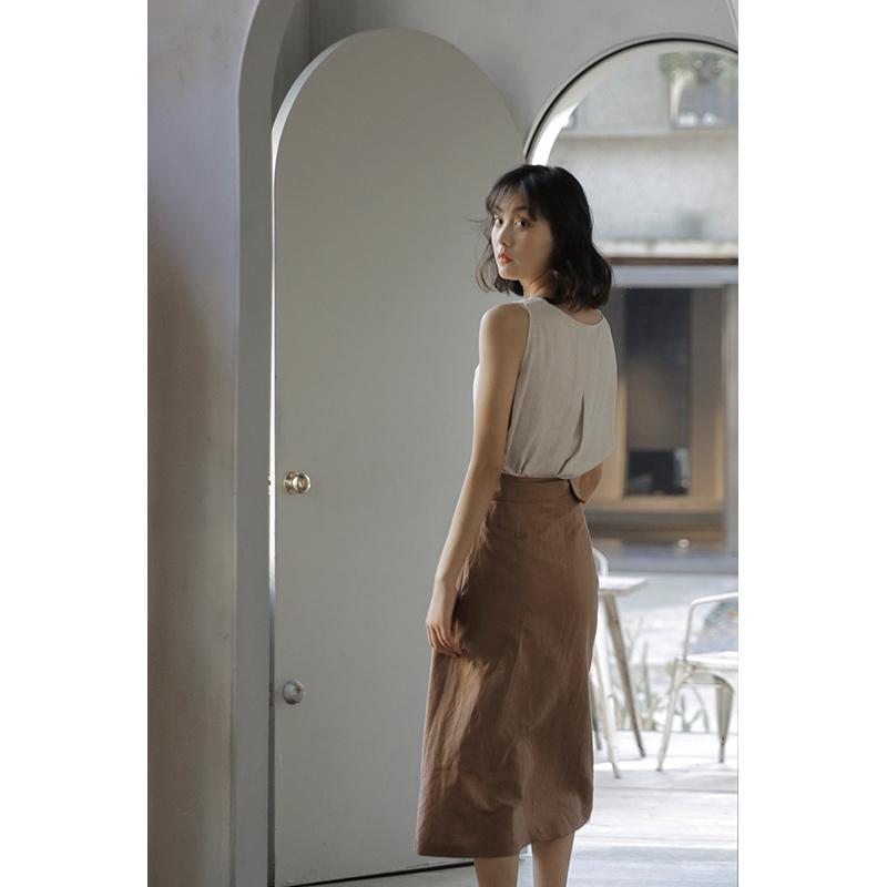 黛因料而生半身高腰长裙夏棉麻古着vintage裙法式复古包
