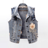 2019 autumn new Korean version of diamond-studded flowers denim vest women short sleeveless vest jacket jacket waistcoat trendy