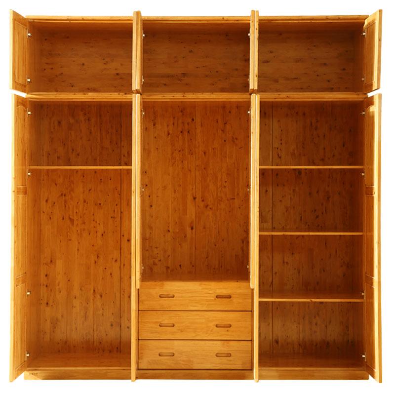 全实木家具柏木六门衣柜储物卧室大衣橱顶柜民宿简现代约经济型拉