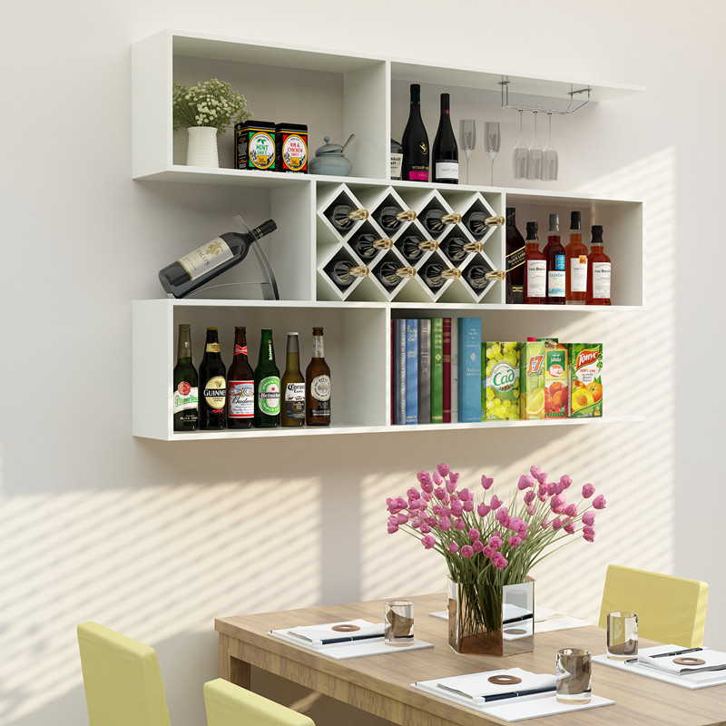 包邮悬挂式酒架酒柜墙上置物架餐厅吧台实木简约壁挂墙壁装饰架