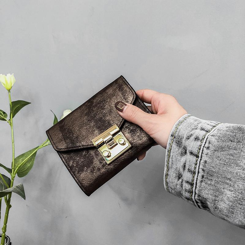 百搭钱夹女卡包零钱包 新款韩版潮钱包女短款欧美复古锁扣  2018 ins