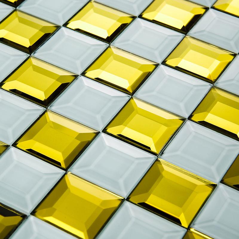 欧式水晶玻璃纯色镜面五面磨边马赛克电视背景墙瓷砖客厅家装主材