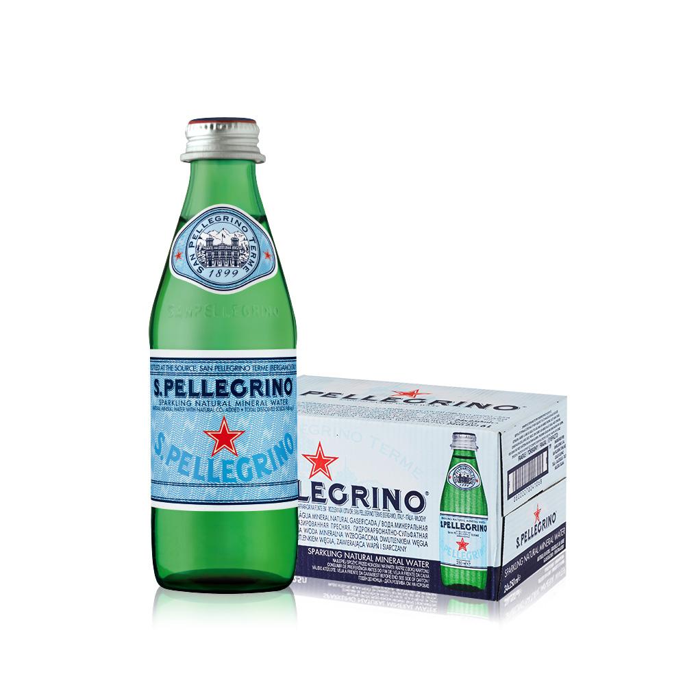 【直营】意大利进口 圣培露 含气天然气泡水玻璃瓶 250mlx24瓶/箱