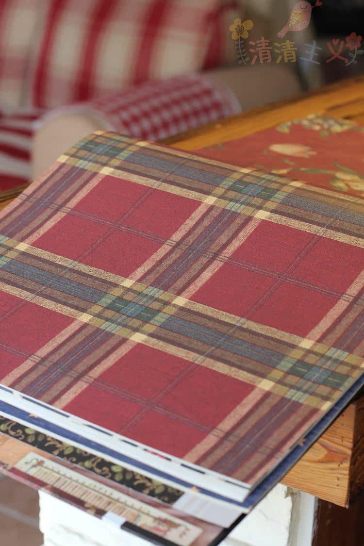 清清主义美式乡村田园精选纯进口苏格兰红绿格子纯纸壁纸