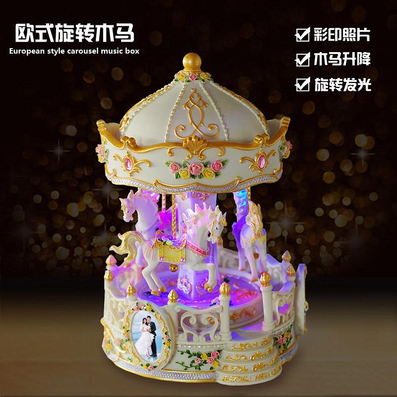 旋转木马八音盒音乐盒女生生日礼物创意圣诞节礼品送女友儿童定制