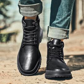 木林森马丁靴男士中帮工装靴子2019新款秋冬军靴男英伦风高帮鞋男